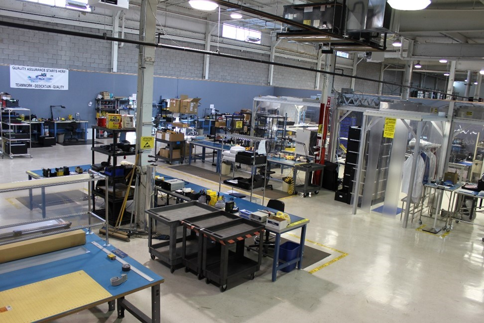 A view inside the AGD production floor, including our assembly tables and cleanroom.
